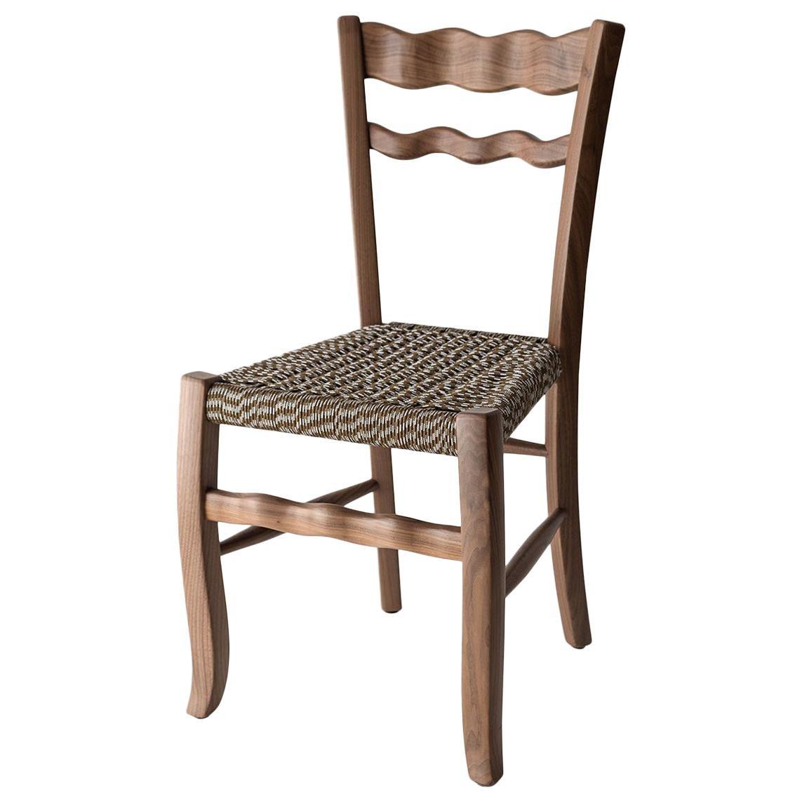 "Traditional Countryside Italian Walnut Wood Chair ""A Signurina - mora"""