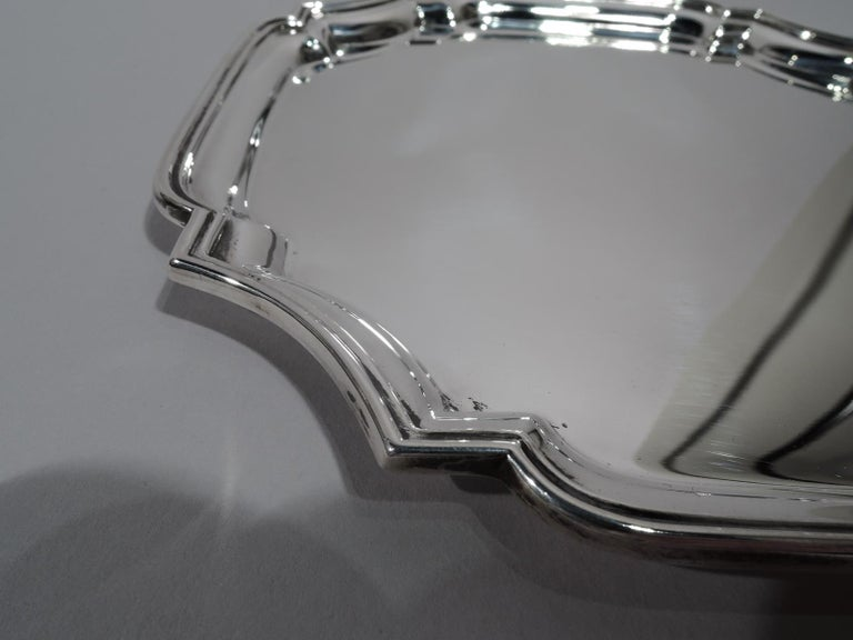 Mid-20th Century Traditional English Georgian Sterling Silver Cartouche Tray For Sale