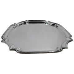 Traditional English Georgian Sterling Silver Cartouche Tray