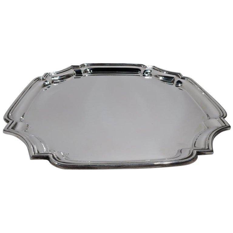 Traditional English Georgian Sterling Silver Cartouche Tray For Sale