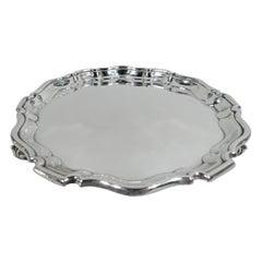 Traditional English Georgian Sterling Silver Piecrust Salver Tray