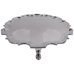 Traditional English Georgian Sterling Silver Piecrust Salver Tray