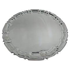 Traditional English Georgian Sterling Silver Piecrust Tray