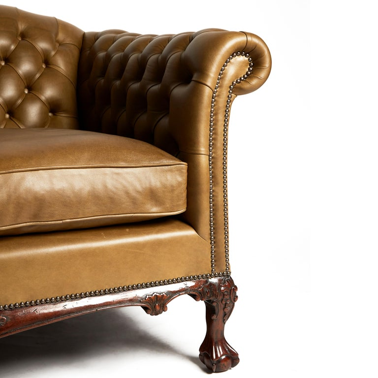 Contemporary Traditional English Leather Shaped Back Chesterfield Sofa For Sale