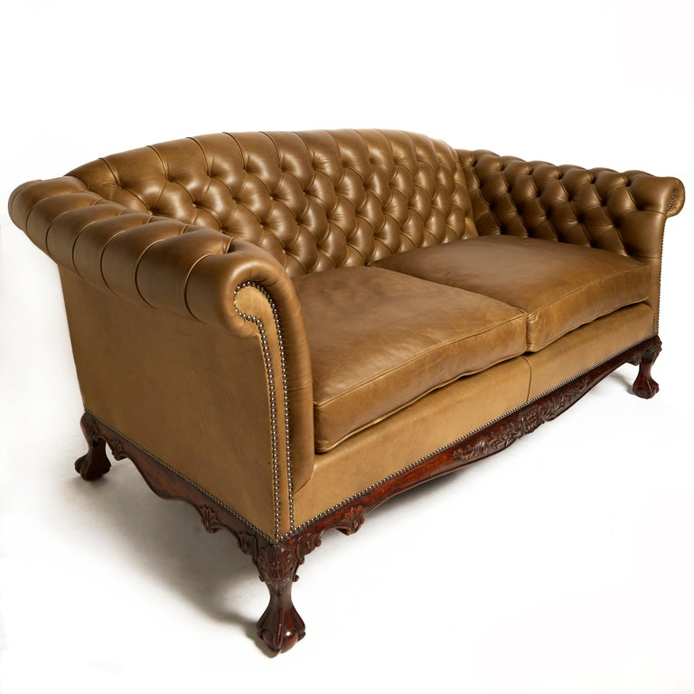 Traditional English Leather Shaped Back Chesterfield Sofa For Sale 2