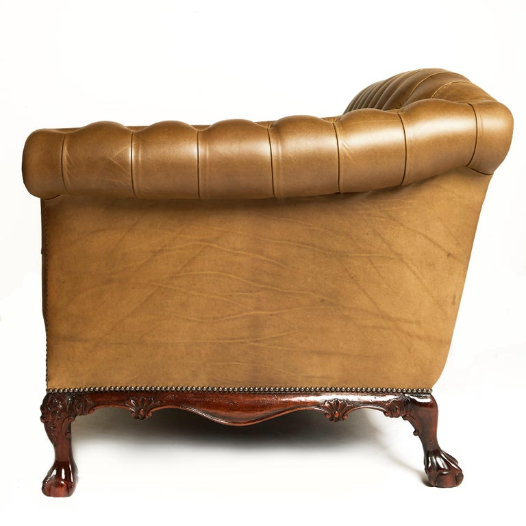 Traditional English Leather Shaped Back Chesterfield Sofa For Sale 3