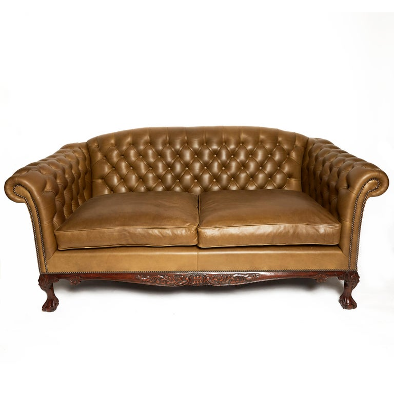 Traditional English Leather Shaped Back Chesterfield Sofa For Sale 5