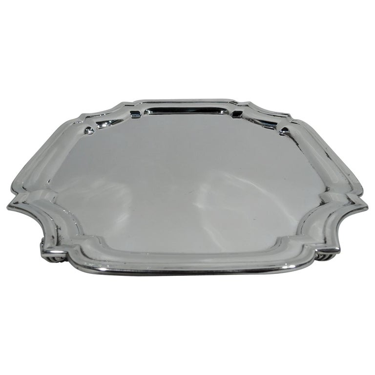 Traditional English Sterling Silver Cartouche Salver Tray For Sale