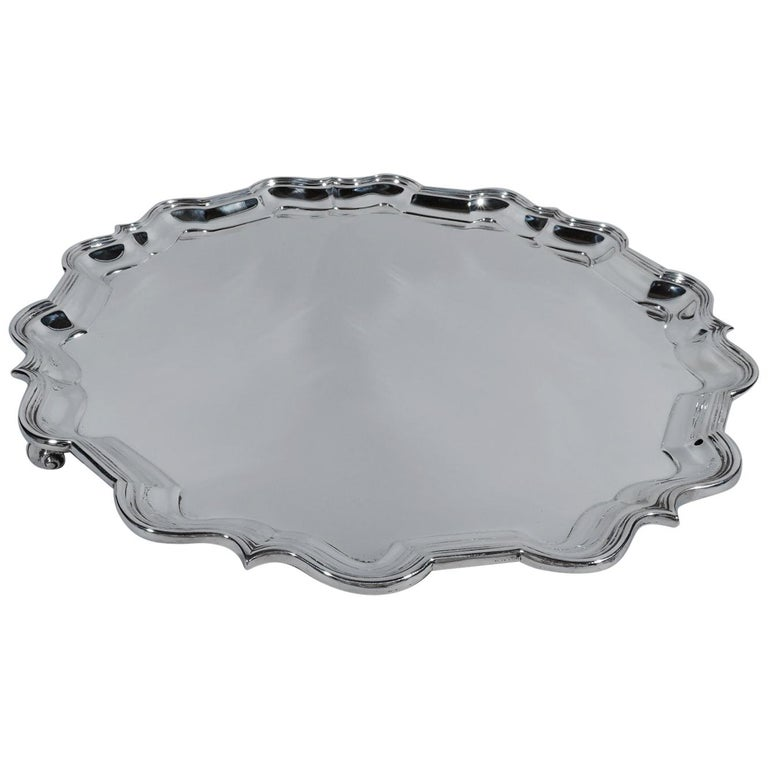 Traditional English Sterling Silver Georgian Piecrust Salver Tray For Sale