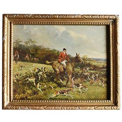 Traditional Equestrian Horse and Foxhound Hunting Print in Giltwood Frame