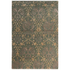 Traditional European Style Rug Green and Gold Pictorial Pattern by Rug & Kilim