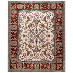 Traditional Floral Design Flat-Weave Wool Rug