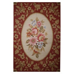 Traditional Floral Needlepoint Rug Handmade Red Carpet Wool Area Rug