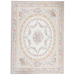 Traditional French Aubusson Style Flat Weave Rug
