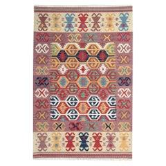 Traditional Geometric Kilim Rug, Handmade Carpet Purple Wool Area Rug