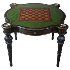 Traditional Green Tooled Leather Top Game Table Cards Chess Poker