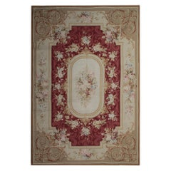 Traditional Handwoven Floral Tapestry, French Design Aubusson Style Needlepoint