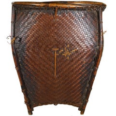 Traditional Handwoven Rattan Grain Basket from Philippines, 19th Century