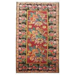 Traditional Handmade Carpet, Oriental Rug Karabagah Floral Caucasian Rug Sale