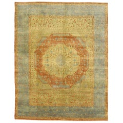 Traditional Indian Area Rug with Arts & Crafts Tuscan Style