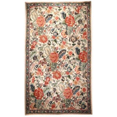 Traditional Indian Wool Chain Stitch Decorative Area Rug, Kashmir Valley, India