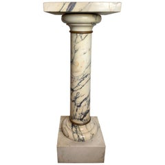 Traditional Italian Marble Pedestal with Simple Bronze Ring Accents, circa 1890s