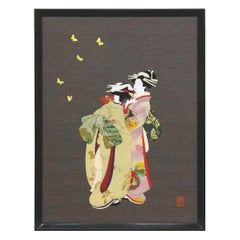 Traditional Japanese Framed Green Purple Brocade Silk Decorative Art