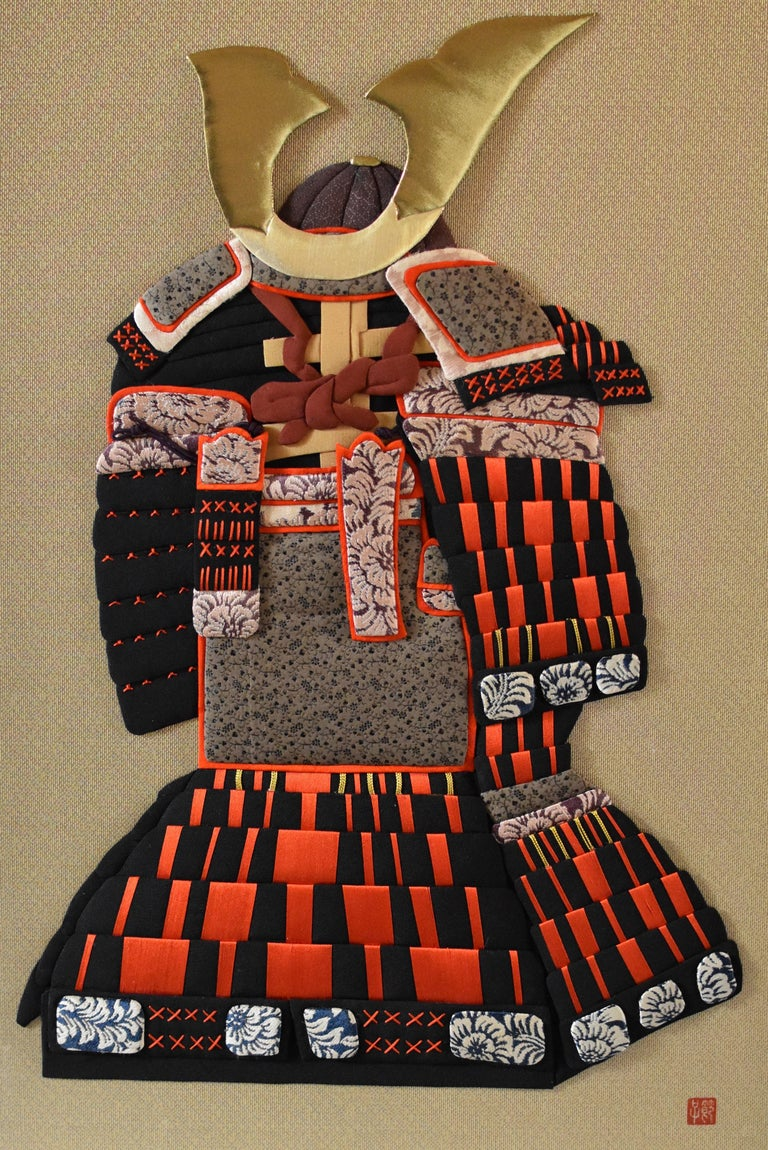 """This is a large captivating one-of-a-kind oshie piece, a Japanese traditional decorative art with a """"yoroi"""" or """"samurai armor"""" design. It depicts a highly decorated Japanese armor, and demonstrates the Fine materials and the attention to details"""