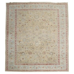 Traditional Khaki Icy Blue Rust Antique Persian Meshed Rug, 20th Century