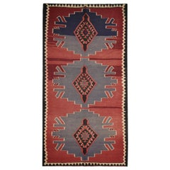 Traditional Kilims Tribal Wool Kilim Rug Vintage Red Blue Area Rug