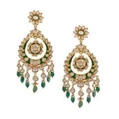 Traditional Kundan Polki Rose Cut Diamond 18 Kt Gold Chand Bali Enamel + Emerald