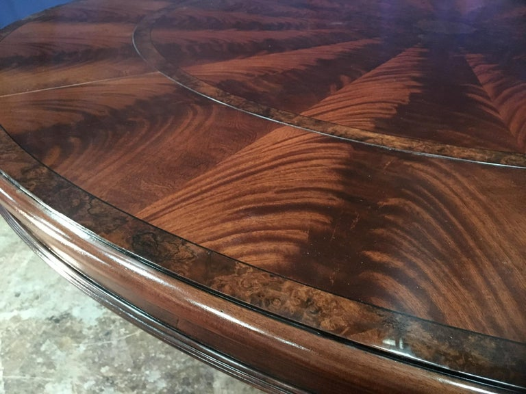 Traditional Large Round Perimeter Leaf Mahogany Dining Table By Leighton Hall For Sale At 1stdibs