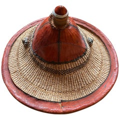 Traditional Leather and Straw Fulani Hat