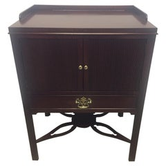 Traditional Mahogany End Table Cabinet Stand with Double Doors by Baker