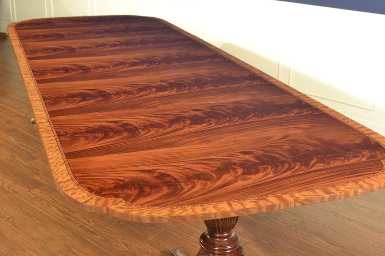 American Traditional Mahogany Scallop Cornered Dining Table by Leighton Hall For Sale