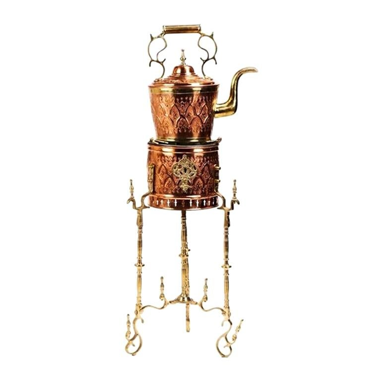 Mid-Century Moorish Brass and Copper Tea Pot on Kettle