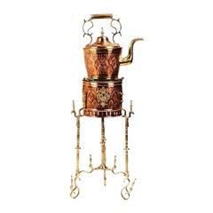 Vintage Brass and Copper Moorish Tea Pot on Kettle