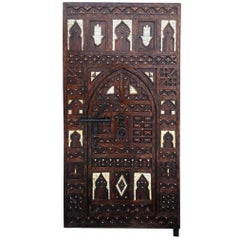Traditional Moroccan Door, Hand Carved Cedar, Inlaid Bone Hamsa, Wrought Iron