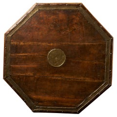 Traditional Moroccan Octagonal Wooden, Brass Decorated, Coffee Table