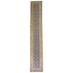 Traditional Navy Green Floral Persian Runner, 20th Century