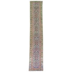 Traditional Navy Green Long Persian Runner, 20th Century