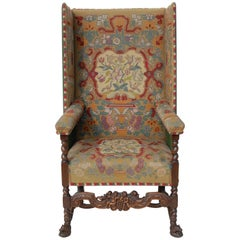 Traditional Needlepoint Upholstery Wingback Armchair