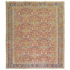 Traditional Orange Persian Heriz Herati Rug