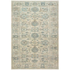 Traditional Oriental Inspired Tabriz Blue, Taupe and Beige Hand Knotted Wool Rug