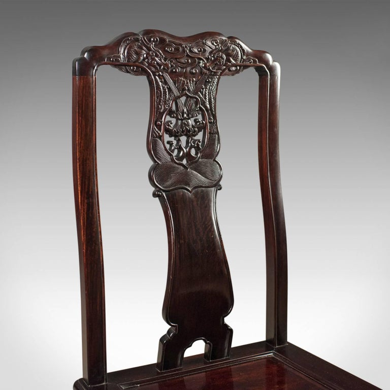 Traditional Oriental Rosewood Set of Four Dining Chairs ...