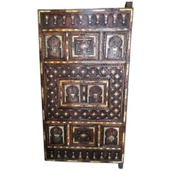 Traditional Ornately Hand Carved Moroccan Wood Door, Inlaid Bone, Silver Fibula