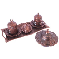 Traditional Ottoman Turkish Copper Coffee Set