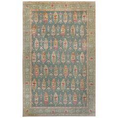 Traditional Oushak Design Blue, Green, Orange and Red Knotted Wool Rug