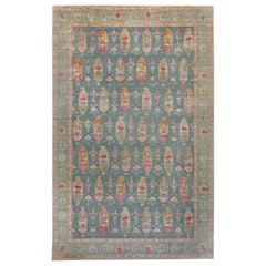 Traditional Oushak Design Blue Rug