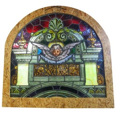 Traditional Painted Laminated Cherub Stained Glass Windows